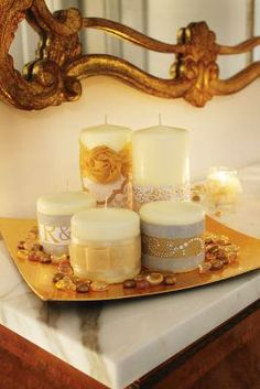 Ivory and Gold Candle Pillars