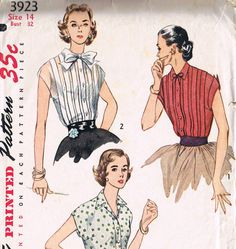 Retro 1950's Front Pleat Short Kimono Sleeve Blouse Sewing Pattern, Simplicity 3923