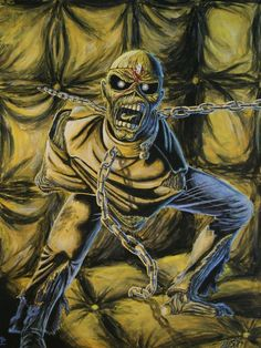 Iron Maiden Eddie the 'ead Piece of mind Dereck Riggs Arte Heavy Metal, Heavy Metal Rock, Heavy Metal Bands, Iron Maiden Album Covers, Iron Maiden Albums, Hard Rock, Iron Maiden Mascot, Iron Maiden Posters, Eddie The Head
