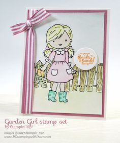 Stampin' Up! Garden Girl card with Watercoloring Tips shared by Dawn Olchefske Coloring Tips, Kinds Of Colors, Paper Crafts, Diy Crafts, Christmas Catalogs, Colouring Techniques, Masculine Cards, Up Girl