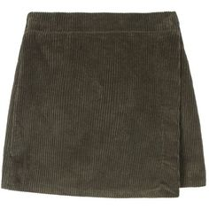 Corduroy Wrap Mini Skirt ($24) ❤ liked on Polyvore featuring skirts, mini skirts, bottoms, mid thigh skirt, short a line skirt, elastic waist mini skirt, short skirts and a-line skirt