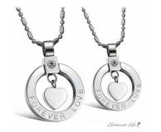 Partner Ketten Ring Herz Anhänger Forever LOVE  316 L...