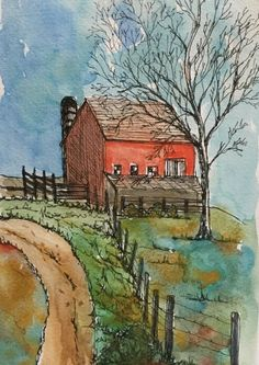 Watercolor and Ink Print of Bright Barn with Fence