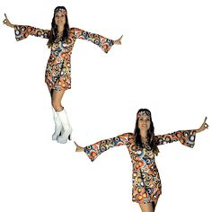 2 Piece Outfits, Dress Outfits, Dresses, Ladies Fancy Dress, Halloween Fancy Dress, Retro Dress, Lady, Flower Power, Hippy