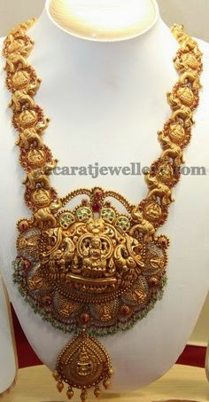 Jewellery Designs: Adorable Gajalkshmi Long Set