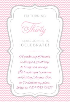 """Pink 30th birthday party"" printable invitation. Customize, add text and photos. print for free! #Birthday #Invitation"