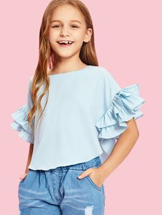 SHEIN offers Girls Pleated Ruffle Sleeve Curved Hem Blouse & more to fit your fashionable needs. Cute Girl Outfits, Kids Outfits Girls, Little Girl Dresses, Girls Dresses, Blue Fashion, Fashion Kids, Fashion Outfits, Junior Girls Clothing, Girls Blouse