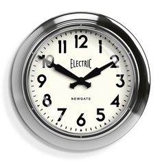 The large Electric wall clock in chrome by Newgate Clocks. This iconic design has withstood the test of time to become a retro classic. Iconic British design | www.newgateclocks.com  #homeware #decor #interior #homeaccesory #clock