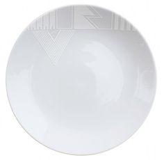 Tribal pattern onto plates (white on white effect) using white market and 'baking' it to set