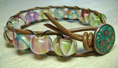 Bracelet Leather Wrap Boho Pastel Lamp Work Beads by MadeByDeby, $30.00
