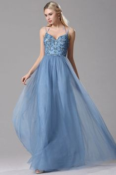A-Line Sky Blue Lace Tulle Long Prom Dresses with Floral Lace and Spaghetti Straps #prom #dress #angrila