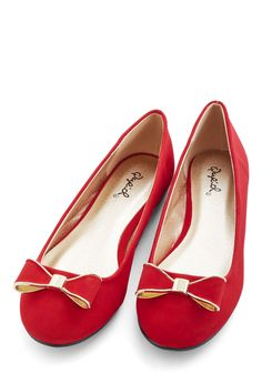 Festive Footstep Flat - Red, Solid, Bows, Work, Holiday Party, Darling, Good