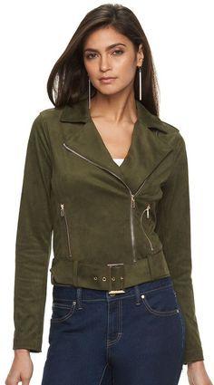 Women's Jennifer Lopez Faux-Suede Moto Jacket
