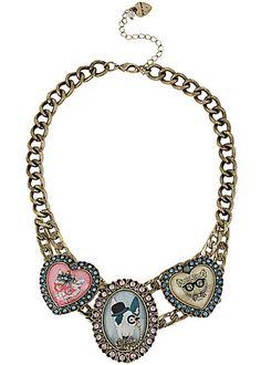 Betsey Johnson Jewelry CAMEO CRITTERS FRONTAL NECKLACE Be positively cute in Betsey Johnson's frontal necklace! The gold-tone chain necklace design is comprised of three whimsical cameo charms: a kitty dog and leopard!  Crafted in an antique gold tone mixed metal. Gold tone necklace chain  Kitty dog and leopard critter cameos with crystal accents Lobster claw Antique gold Metal/resin/acrylic   16 length + 3 extender; frontal drop 1.8 CAMEO CRITTERS  Collection Limited Edition