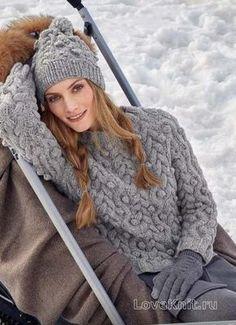 Спицами объемный пуловер и шапка с шишечками фото к описанию