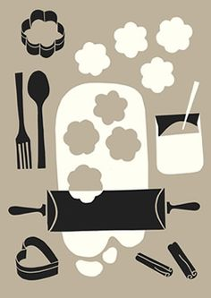 polkka_jam, simple collage, digital, baking, cookie, food, kitchen, illustration, drawing, paper cut, screen print