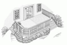 Eplans Deck Plan - Wrapping Bench Flanked by Planters from Eplans - House Plan Code Deck Stairs, Cool Deck, Deck Plans, Building A Deck, Yard Design, Home Reno, The Great Outdoors, Architecture Design, House Plans