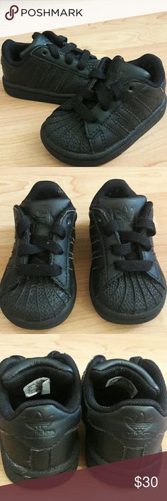 Adidas superstar all black size 4c In good condition   Checkout My listings for more awesome stuff! Adidas Shoes Sneakers