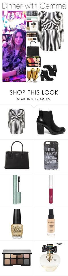 """""""Dinner with Gemma"""" by xhoneymoonavenuex ❤ liked on Polyvore featuring Topshop, Steve Madden, Prada, OPI, Smashbox and Aéropostale"""