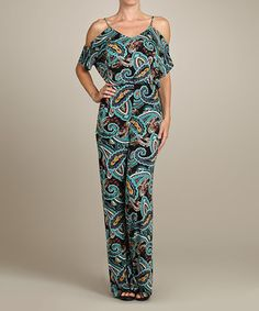 Vision Jade Paisley Cutout Jumpsuit by Vision #zulily #zulilyfinds
