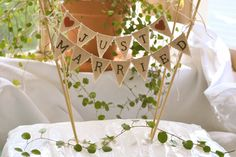 Just Married Wedding Cake Topper Banner by atcompanyb on Etsy