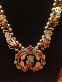 C D Leekity Zuni Sterling Silver Owl Squash Blossom Necklace and Earrings