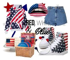 """Sem título #42"" by fernanda-paixao ❤ liked on Polyvore featuring Glamorous, Violent Lips, Martucci, Carole, Picnic Time, redwhiteandblue and july4th"