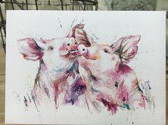 Kissing Pigs Art blank Watercolour print greetings card designed by artist Nicola Jane Rowles .