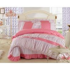 Red And White Floral Lace Bowtie Girls Doona Cover And Sheet