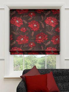 Oriental Rose Red Roman Blind