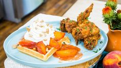 Chef Kelli Ferrell shows you how you can have dessert for dinner with this decadent chicken and peach cobbler waffle recipe. Get more Home & Family here: htt. Waffle Iron, Waffle Recipes, Dessert For Dinner, Stuffed Whole Chicken, Family Meals, Family Recipes, Cobbler, Pasta Dishes
