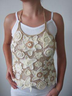 White and Beige Crochet Sweater Irish Crochet Top by MARTINELI, $135.00