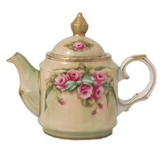 "Small Hand Painted Margaret Teapot---a ""mini"" version of larger teapot that I do have! Hand-painted by Betty Platner."
