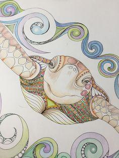 Zentangle sea turtle,turtle art,sea art, colored turtle,colored zentangle,zentangle art,wall art, wall decor,marine art,ocean art by TheTranquilFrog on Etsy