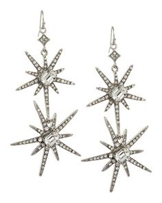 R.j. Graziano | Green Doublestar Pave Earrings