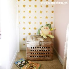 Starry Night Stencil in Girls Room | Project by The Handmade Home http://www.thehandmadehome.net/2013/06/big-girl-room-reveal/