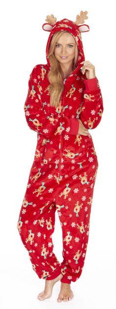 Adult Ladies Novelty Flannel Fleece Christmas Xmas Onesie Nightwear Sizes XS-XL