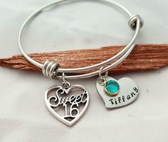 Personalized Sweet Sixteen Bracelet, Sweet 16 Gift, Personalized Jewelry For 16th Birthday, Sweet 16 Bangle For Daughter Birthday, 16 years by TiffysLove on Etsy