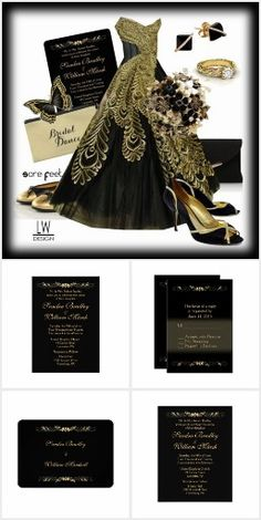 Gorgeous Black and Gold Wedding Invitation Suite   Up to 50% Off Cards & More  20% OFF SITEWIDE  www.leatherwooddesign.com