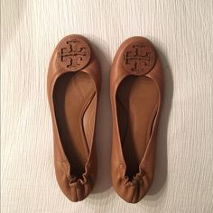 Tory Burch Logo Minnie Travel Flats, Leather Worn once and still in perfect condition. Tan leather. Tory Burch Shoes Flats & Loafers