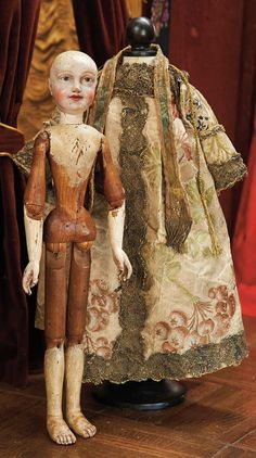 Theriault's - 18th ce german all-wooden articulated carved character doll, 14""