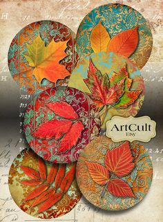 RUSTY AUTUMN - Digital Collage Sheet, Printable 2.5 inch circle images for Pocket Mirrors, Magnets, Paper Weights