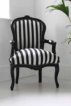 Hattie Black and White Striped Chair modern armchairs