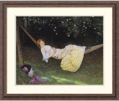 "0-028726>27x22"" Edward Killingworth Johnson The Hammock Framed Print"