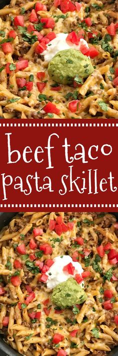 One pan & 30 minutes for cheesy beef taco pasta skillet. Tender pasta and taco seasoned ground beef simmer in salsa and beef broth and covered in cheese. Beef Recipes For Dinner, Mexican Food Recipes, Cooking Recipes, Mexican Dishes, Family Recipes, Cooking Ideas, Taco Recipe, Recipe Pasta, Pasta Recipes
