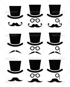Buy Mustache or Mustache with Hat and Glasses Icons by RedKoala on GraphicRiver. Senior, gentleman with mustache and glasses icons isolated on white FEATURES: Vector Shapes All groups have name. Shape Templates, Face Illustration, Vector Shapes, Skin Art, Moustache, Icon Set, Art Forms, Art Images, Tatoos