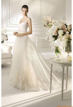 V-neck Romantisch Bodenlang Preiswerte Brautkleider 2014 aus Softnetz