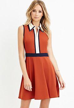 Contemporary Colorblock Collared Dress | LOVE21 - 2000156383