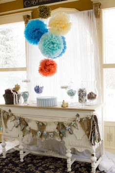 Blue and gold starry baby shower - seen on Inspired by This. #stars #babyshower #gold #banner