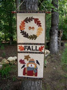 Quilted Wall Hanging, Door Banner, Quilt, Primitive, Door hanger,Country Decor, Primitive Decor, Wall Hanging, Fall, Autumn, Scarecrow. $40.00, via Etsy.